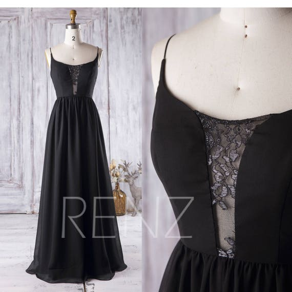 Lace Neck Bridesmaid Dress Backless Black Evening Gown A