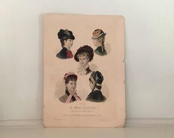 1879 FRENCH FASHION HATS engraving original antique print of fashion costume - la mode illustrée - chapeaux