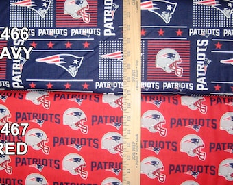 NFL Logo New England Patriots Red & Navy with Blenders Cotton Fabric by Fabric Traditions! [Choose Your Cut Size]