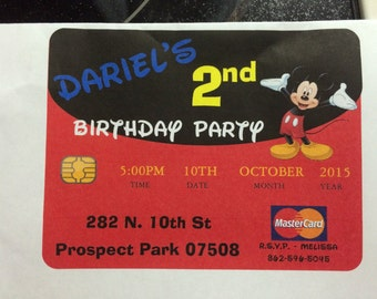 Mickey Mouse credit card invitation