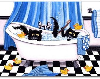 Rubber Ducks Bubble Bath Decor Black Cats - ArT Prints by Bihrle ck279