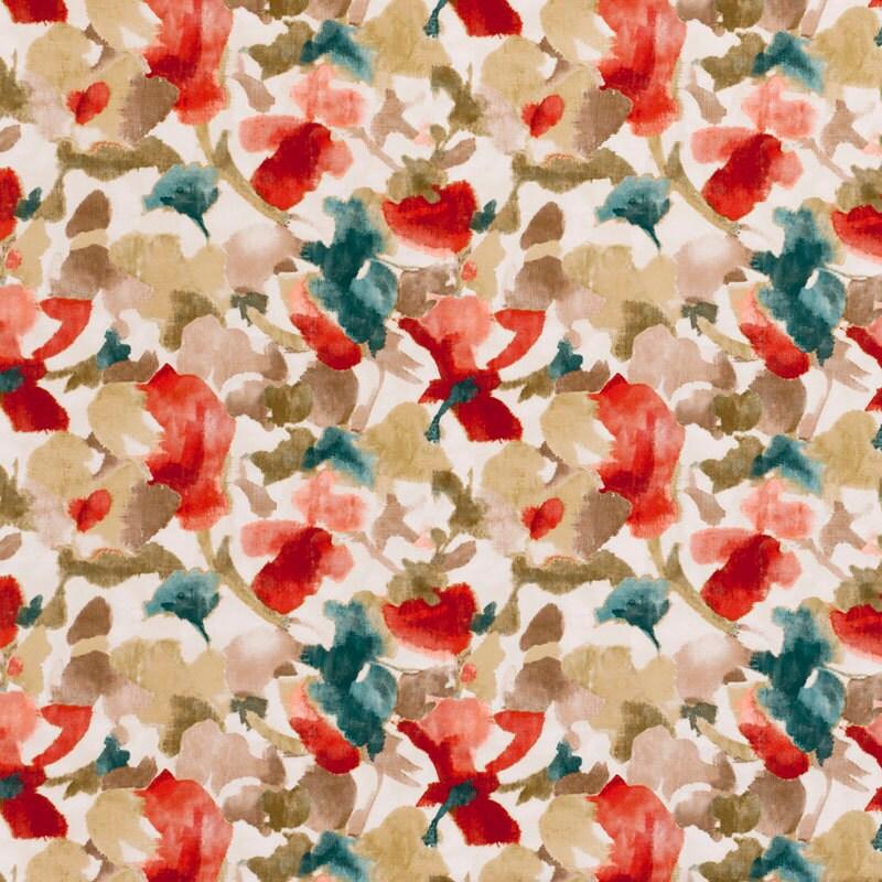 Teal Red Floral Velvet Upholstery Fabric   Teal Velvet Floral Curtains    Custom Teal Velvet Roman Shade   Red Teal Floral Velvet Pillow