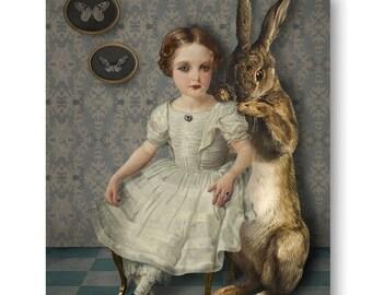 The Rabbit Portrait Print Digital Art Blue Gray Surreal Home Decor Bunny Hare Pet Moth