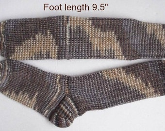 "Socks hand knit. Foot length  9.5"". Thick winter socks, reinforced heel. Boot socks . Slipper socks. Variegated yarn. Ready to ship"