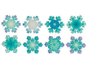 SUGARSOFT 12 Snowflake Assorted Edible Printed Decorations - Molded Sugar SugarSoft Cake / Cupcake Topper Decorations