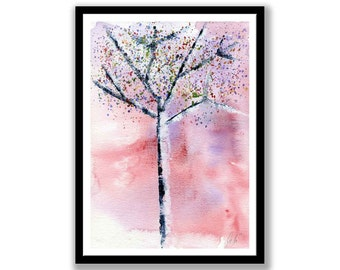 Original Watercolor Painting-- Trees in bloom  -- Unmounted, Wall art, Wall Decor, Abstract Paintings, Watercolor Painting, Tree Decor
