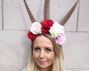 Festival Feather Flower Headband Large Boho Headdress Headpiece Red Rose 2926