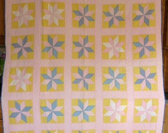 Antique LeMoyne Star Quilt, Pink, Blue, and Cheddar, Handstitched Quilt with Solid Fabrics, Vintage Quilt