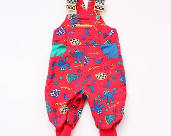 Vintage red overalls gymboree overalls 80s eighties 90s nineties style plastic playsuit colorful infant baby joker jester dice magic numbers