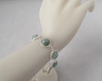 Striped Green Agate Bracelet with Toggle Clasp