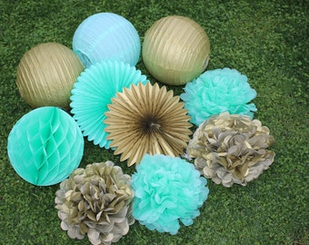 10pcs Mint Green Gold Hanging Paper Fans Tissue Paper Pom Poms Flower and Honeycomb Balls for Birthday Party Wedding Festival Decor