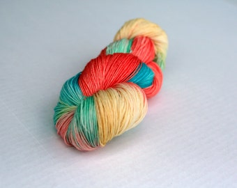 Varigated finger weight superwash wool, Coral yellow and aqua sock yarn, sock knitting yarn, hand dyed merino wool, Indie yarn