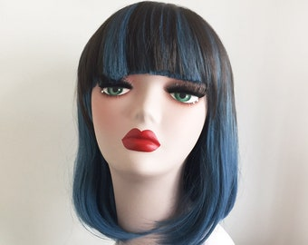 Women Lolita Blue Dark Brown Ombre Fading Hue Color Thick Bob Straight Hair Wig Free Cap