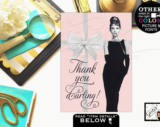 """Pink Party Decorations, Audrey Hepburn themed party supplies, thank you sign, bridal shower, birthdays, {4x6"""" or 5x7""""}"""
