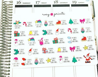 Colourful Christmas Countdown Stickers - Perfect for Erin Condren Life Planners / Journals / Stickers
