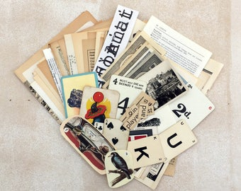 Black and white 60 vintage ephemera pack. Art collage pack. Text and illustrated pages, book pages, game pieces.