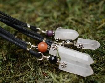 Rose Quartz Point Leather Necklace