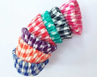 100 Mini Checked Cupcake Liners Rainbow Gingham Birthday Party Wedding Bake Sale Old Fashioned Cute Baking Cups