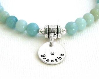 Amazonite Intention Bracelet - BREATHE - Stretch Bead Bracelet - Mala Bracelet - Dog Agility Bracelet