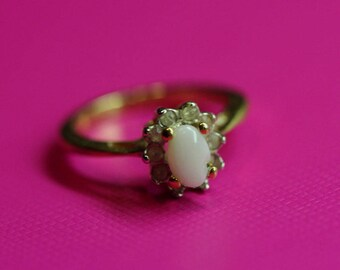 Vintage 1980s Opal Ring with Clear Austrian Crystals; October Birthstone Ring; Made in the USA Ring