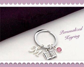 Bible Keychain, Christian Keychain, Religious Keychain, Personalized Silver Keychain, Birthstone Birthday Keychain, Keychain Accessory Gifts