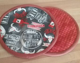 Grilling Supplies Potholders, Pot Holders, Grill Master Hot Pads, Mats, 8 inch, Round, BBQ