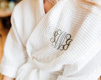 WHITE COTTON WAFFLE Robe - White Cotton Robe - Spa Party Robe - Getting Ready Robe - Wedding Robe - Pool Robe - Maternity Robe - Cozy Robe