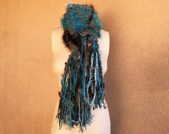 Chocolate Brown and Teal Scarf with Black, Hand Knit Warm Scarf with Fringe Scarf Sweater Scarf Crickets Creations Scarf