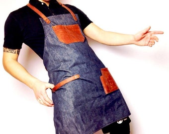 Barista Roaster Cafe Apron, Leather Apron, Denim Leather Aprons,  Mens Cafe Restaurant Apron Uniform Leather Apron, Stylist's Leather Apron