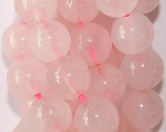 "Natural Rose Quartz Beads - Round 8 mm Gemstone Beads - Full Strand 16"", 48 beads, A+ Quality"