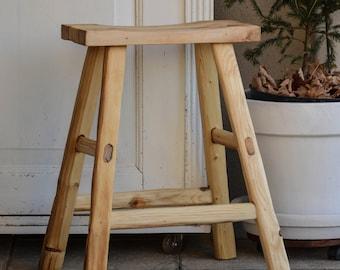 handmade wooden stool, old oak wood, raw wood, pure, minimal