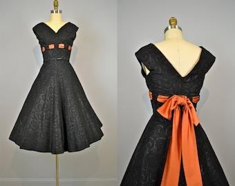 1950s Party Dress .  50s Black Taffeta .  Shimmer Swirls . Tulle.  Copper Satin .  Full Skirt
