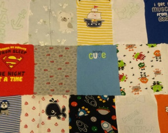 """40""""×54"""" Flannel Baby Clothes quilt"""