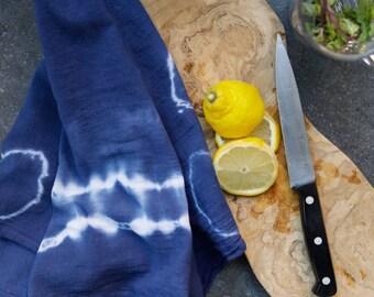 Tea Towel Indigo Color Shibori Dyed Flour Sack Dish Towel 100% Cotton