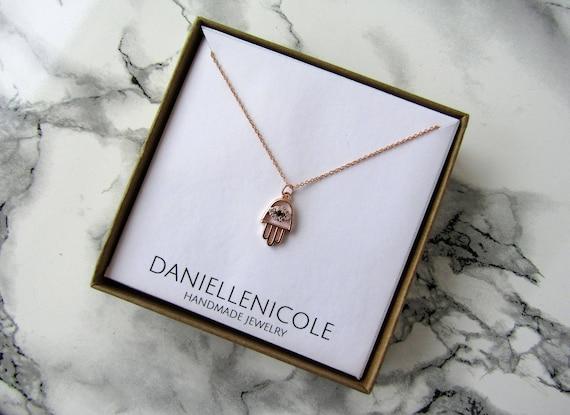 Rose Gold CZ Hamsa Necklace, Evil Eye Necklace, Pendant Necklace, Dainty Necklace, Dainty Jewelry, Everyday Jewelry, Boho Necklace