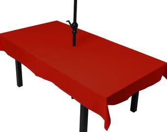 Tablecloth red meets (umbrella)