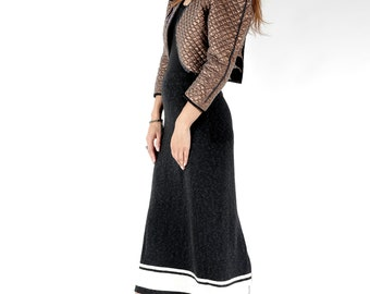 Vintage Knit Tight Skirt / Button Up Skirt / High Waist Skirt / Midi Skirt / Dark Gray Tight Skirt / Grunge Skirt / Snug Skirt / Size M