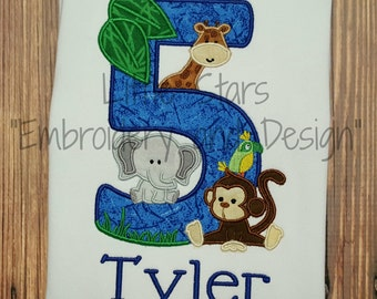 Jungle Safari - Zoo Animals with Number Birthday Shirt - Fabric for number can be changed.