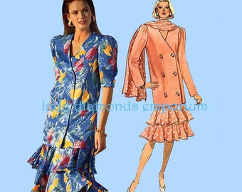 Butterick 4612 Womens Loose Fitting Double Breasted Jacket Top Skirt Scarf 2-Piece Suit size 12 14 16 Easy Vintage Pattern Uncut FF #632 (A)