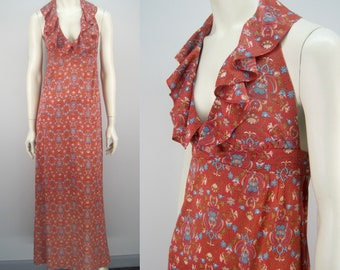 Vintage 70s halter maxi dress, genie print dress