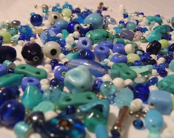 Shades of Blue Bead Collection, over 250 beads, vintage