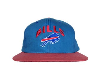 Vintage 90s NFL Buffalo Bills snap back snapback style hat - Blue and Red with Green bill