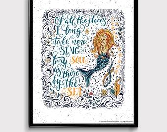 Mermaid Wisdom, Mermaid Art, Mermaid Advice, Beach Art, Ocean Quotes, Home Decor Coastal, Digital Download Art