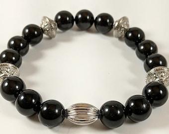 Premio Handmade Limited Edition Black Agate/Silver Mens Bracelet