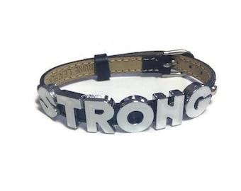 Leather STRONG Bracelet - 8mm STRONG Black Strap Wristband Bracelet - STRONG Jewelry - Inspiration Bracelet