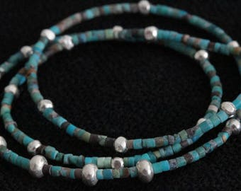 Blue and brown Turquoise and silver beads necklace (N0036)