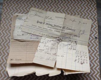 10 Antique Letterhead Farm Paper Antique Farm Ephemera Handwritten Scrapbooking Early 1900's Edwardian Flour Feed Grain