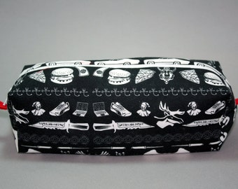 Boxy Makeup Bag - Supernatural Fandom Print Zipper - Pencil Pouch - Rbenxia, Colt, Castiel, Impala, and Turducken