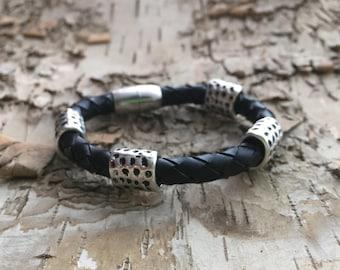 Men's black bracelet, black leather bracelet, Biker wristband, Bikers jewelry, Rocker leather bracelet, Viking jewelry, gift for him,