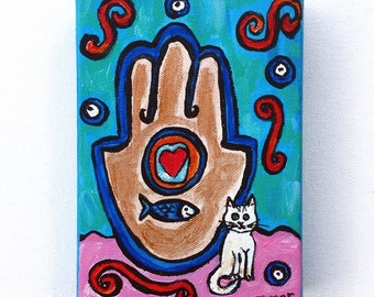 Hamsa Hand, White Cat, Original Acrylic Painting, Chamsa Painting, Cat Art, khamsa canvas, Judaica Artwork, Jewish Gifts, Kids Room Decor